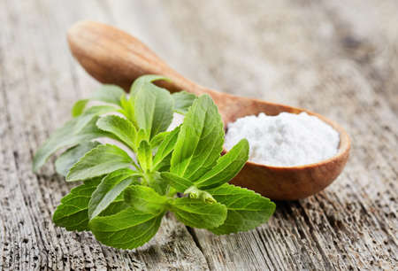 Photo for Stevia plant with powder on wooden board - Royalty Free Image