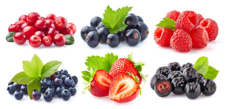 Photo pour Collection of fresh berries on white background - image libre de droit