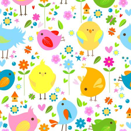 spring cute birds seamless background