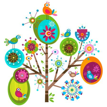 Photo pour whimsy flower tree and birds - image libre de droit