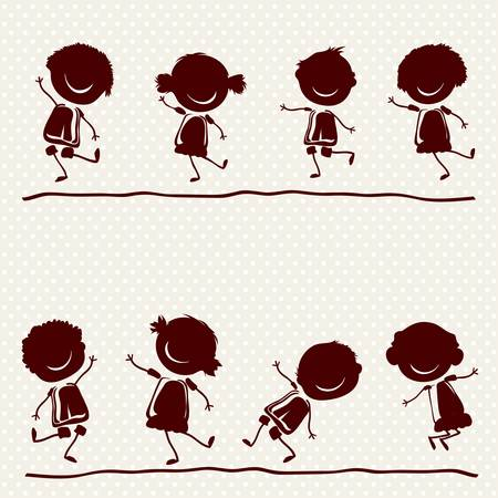 silhouettes of  happy children playing