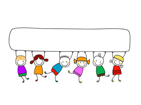 Illustration for happy kids with banner - Royalty Free Image