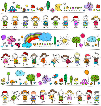 Illustration pour colorful pattern with children and cute nature elements, child like drawing style - image libre de droit