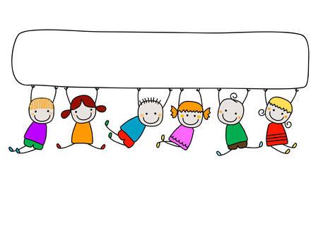 Illustration pour happy kids with banner - image libre de droit