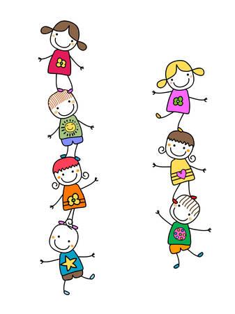 Ilustración de happy kids playing - Imagen libre de derechos