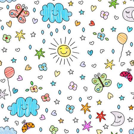Ilustración de colorful seamless pattern for kids - Imagen libre de derechos