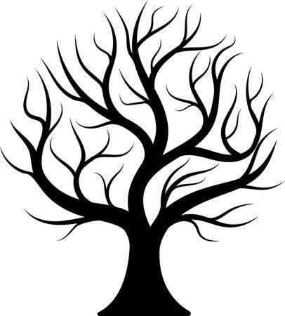 Illustrazione per Black silhouette bare tree. - Immagini Royalty Free