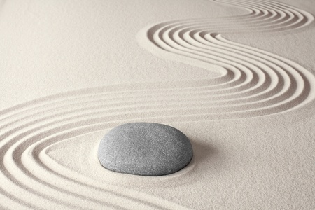 Photo for spiritual zen meditation background in Japanese rock garden concept for harmony balance simplicity sand and pebble tao or Buddhism - Royalty Free Image