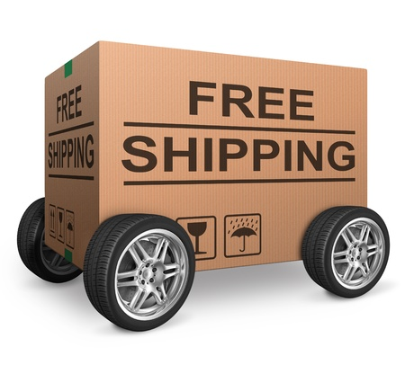 free shipping or package delivery order web shop shipment in cardboard box icon for online shopping ecommerce button