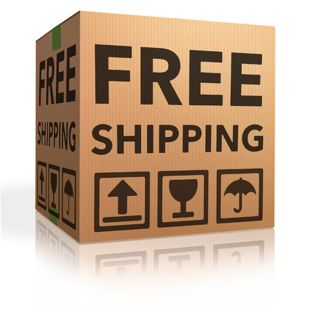free shipping package from online internet webshop cardboard box as webshop shopping icon parcel with text order shipment