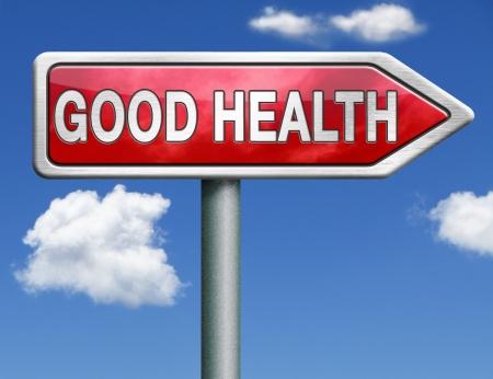 Foto de good health and vitality energy healthy mind and body icon button red road sign arrow - Imagen libre de derechos