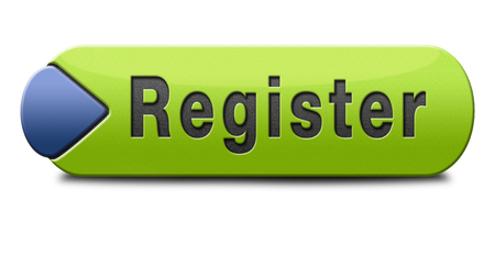 Foto de register here en no sign or icon. Membership registration button or sticker.  - Imagen libre de derechos