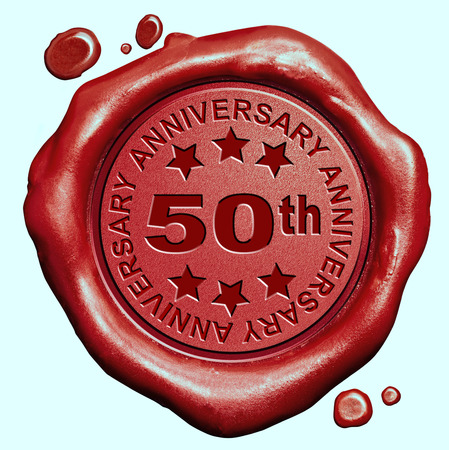 Photo for 50th anniversary fifty year jubilee red wax seal stamp - Royalty Free Image