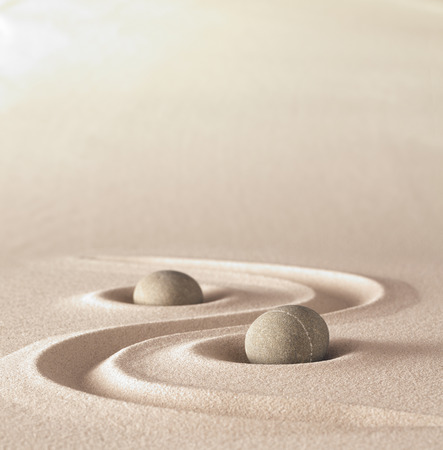 Photo for zen garden meditation stone background with copy space stones and lines in sand for relaxation balance and harmony spirituality or spa wellness - Royalty Free Image