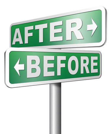 Photo pour before after make a change for the best do a makeover going forward towards a bright new future - image libre de droit