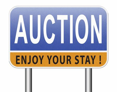 Foto de online auction Selling and buying on the internet of products cars houses and real estate. - Imagen libre de derechos