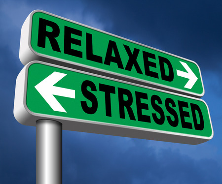 Photo pour relaxed stressed therapy to take it easy relax and be stress free assessment and management sign - image libre de droit