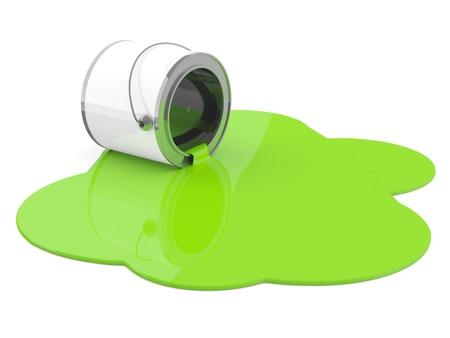Foto de Spilled green paint. 3D model - Imagen libre de derechos