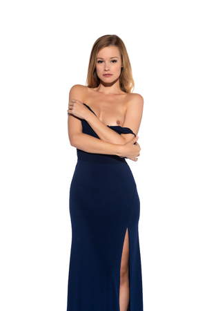 Photo pour Tall slender blonde in a long blue gown - image libre de droit