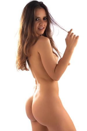 Photo pour Dark skinned Romanian brunette nude on white - image libre de droit