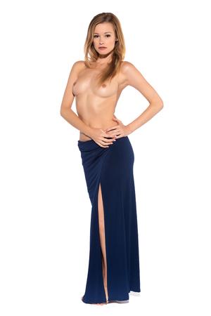 Foto de Tall slender blonde in a long blue gown - Imagen libre de derechos