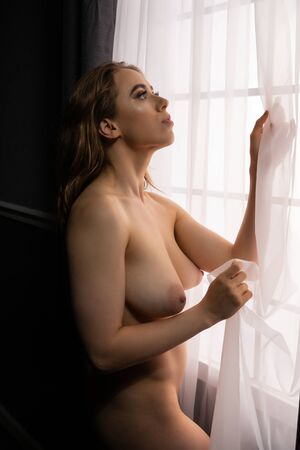 Photo for Petite young brunette standing nude at a window - Royalty Free Image
