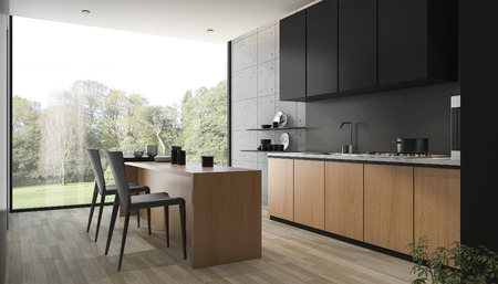 Photo pour 3d rendering modern black kitchen with wood built in - image libre de droit