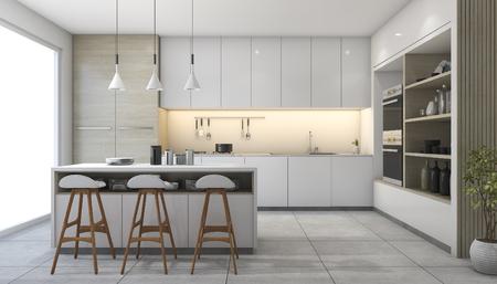 Photo pour 3d rendering white modern design kitchen with lamp - image libre de droit