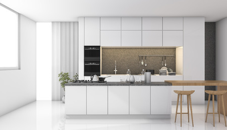 Photo pour 3d rendering white modern kitchen with light from window - image libre de droit