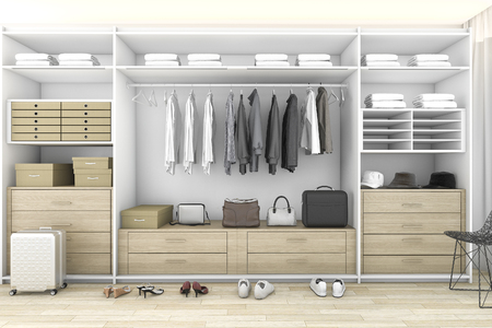 Foto per 3d rendering minimal wood walk in closet with wardrobe - Immagine Royalty Free