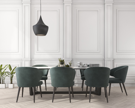 Photo pour 3d rendering classic dining table in white dining room - image libre de droit