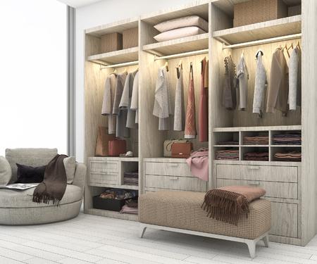 Photo pour 3d rendering minimal scandinavian wood walk in closet with wardrobe - image libre de droit