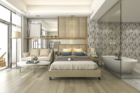 Foto de 3d rendering luxury suite hotel bedroom with bathtub and counter bar - Imagen libre de derechos