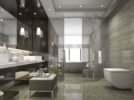 Photo for 3d rendering modern and luxury bathroom and toilet - Royalty Free Image