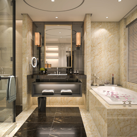 Foto de 3d rendering modern and classic loft bathroom with luxury tile decor - Imagen libre de derechos