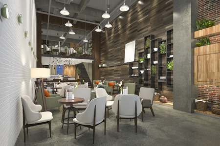 Photo for 3d rendering loft and luxury hotel reception and cafe lounge restaurant - Royalty Free Image