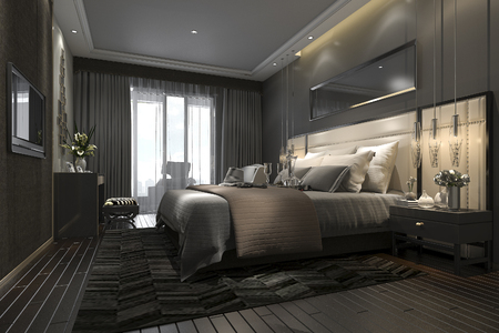 Photo pour 3d rendering black luxury modern bedroom suite in hotel and resort - image libre de droit