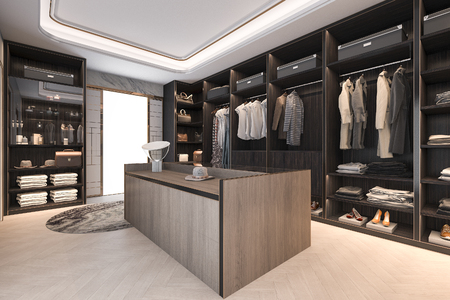 Photo pour 3d rendering minimal loft dark wood walk in closet with wardrobe - image libre de droit