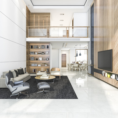 Photo for 3d rendering wood modern living room and dining room - Royalty Free Image
