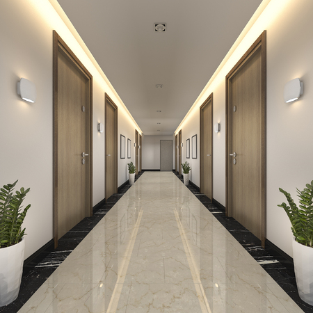 Photo for 3d rendering modern luxury wood and tile hotel corridor - Royalty Free Image