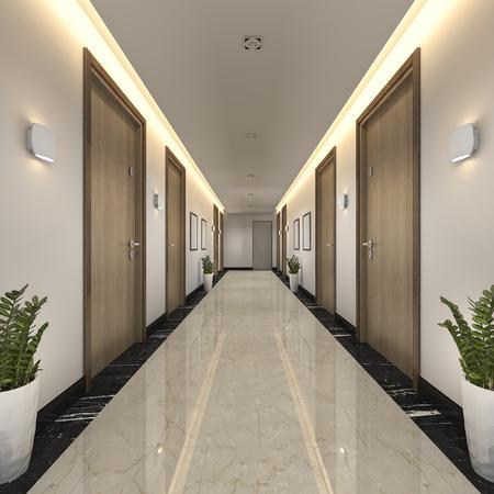 Foto per 3d rendering modern luxury wood and tile hotel corridor - Immagine Royalty Free