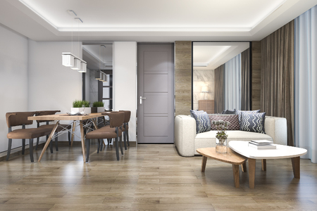 Foto de 3d rendering wood luxury and modern living room and dining room - Imagen libre de derechos