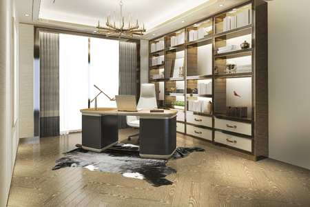 Photo for 3d rendering modern luxury working room - Royalty Free Image