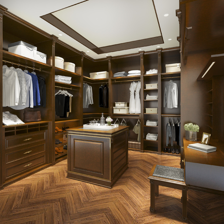 Foto per 3d rendering luxury scandinavian wood walk in closet with wardrobe - Immagine Royalty Free