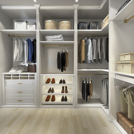 Photo for 3d rendering luxury scandinavian wood walk in closet with wardrobe - Royalty Free Image