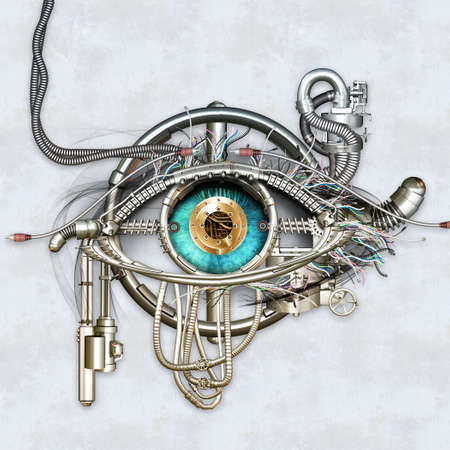 Photo pour Mechanical eye in direct eye contact - image libre de droit