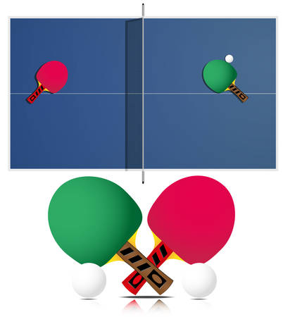 table tennis and racket on white background. Each elements on separate layer.