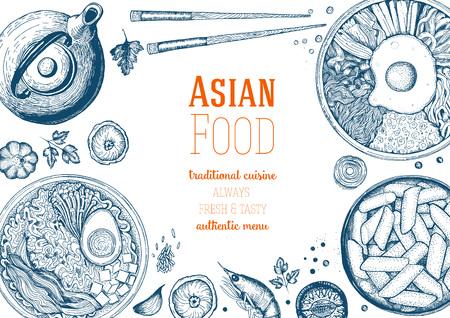 Illustration pour Asian Food Frame. Linear graphic. - image libre de droit