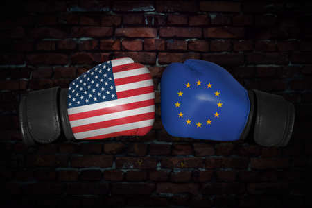 Foto de match. Confrontation between the USA and European Union. American, EU, EC national flags on Boxing gloves. Sports competition between the two countries. Concept of the foreign policy conflict. - Imagen libre de derechos