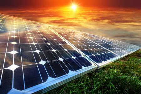 Foto de Solar panels, photovoltaics - alternative electricity source - selective focus, copy space - Imagen libre de derechos
